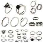 Simple Design Women Girl Retro Silver Alloy Ring Rings Set Punk Jewelry Gift New