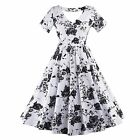 New Women Vintage Style Floral Printed Swing Pinup Cocktail Party Dress