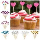10pcs Heart Glitter Cupcake Cake Toppers Wedding Birthday Decor Party Supplies