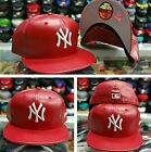 New Era 5950 NEW YORK YANKEES RED-LEATHER Men's Fitted MLB Hat YANKEE Cap PU