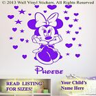 Minnie Mouse Sticker  Personalised Kids Children Name Vinyl Wall Art Decal 9asm