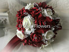 WEDDING FLOWERS BRIDES TEARDROP & BRIDESMAID BOUQUET ETC.IN RED AND IVORY