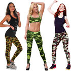 2016 Fashion Lady Womans Camouflage Zipper Leggings Gym Yoga Running Pants Hot