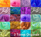 Axx 2 Tones Crystal Mirror Iridescent Organza Sheer Party Decor Fabric Material