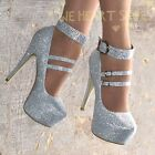 Ladies+Diamante+Stiletto+Shoes+Evening+High+Heels+Ankle+strap+Sparkly+size+3-9