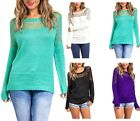 Long Sleeve Round Neck Mesh Knit Sweater Top S ~ L