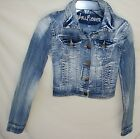 WALLFLOWER STRETCH Long Sleeve Destroyed DENIM JACKET JUNIOR SIZE Small NWT