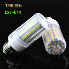 E27 E14 LED Corn Bulb 5730 SMD Warm Cool White Lamp AC220V Light 10W 136Leds
