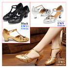 Womens Latin Salsa Ballroom Tango Dance Shoes Lady Closed Toe Ankle Strap Heels