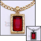 """18-36""""Men Stainless steel Gold Silver Red Ruby Rick Ross Cuban Chain Necklace#35"""