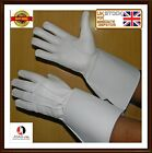 PIPER DRUMMER WHITE LEATHER GAUNTLETS / GLOVES Real Leather Band Gloves