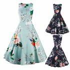 High Quality Womens Lady Retro Rockabilly Floral Print Evening Party Swing Dress