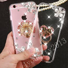Bling Diamond Rhinestones Ring Stand Crystal Clear Case Cover Skin For Samsung