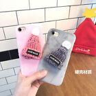 Hand Made 3D WOOLLEN HAT Warmer Case Fr iPhone 7 Plus 6S Plush Winter Back Cover