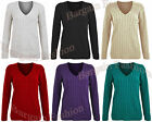 BNWT Ladies Cable Knit V Neck Knitted Long Sleeve Jumper Top