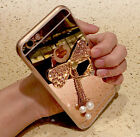 Bling Mirror Lovely Bowknot Pearl Pendant Ring Stand TPU Case Cover For Phones