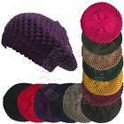 Ladies Double Ply Thick Cable Knit Crochet Beret Tam Ski Beanie Slouchy Warm Hat