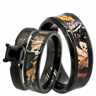 His & Hers Wedding Ring Set Black Spinel Camo Stainless S...
