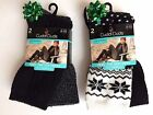 Cuddl Duds Womens Boot Winter Socks 2 PAIR Shoe Sz 4-10 Fairisle /BLACK NEW