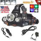 US Genuine BORUiT 13000LM XM-L T6 LED Headlamp Hunting Head light 18650 Charger