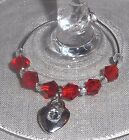 6  Rhinestone Puff Heart Charm & Crystals/Imitation Pearls Wine Glass Charms