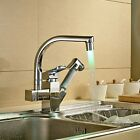 Brushed Nickel LED Pull Out Sprayer Kitchen Sink Faucet Swivel Spout Mixer Tap