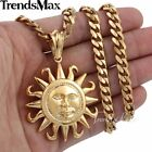"18-36""MEN Stainless Steel 5mm Gold Curb Cuban Chain Necklace Tribal Sun Pendant"