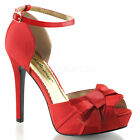 Red Satin Winter Christmas Bridesmaid Bridal Wedding Shoes size 6 7 8 9 10 11
