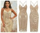 SEXY CELEB GOLD NUDE PLUNGE SEQUIN  BODYCON MIDI EVENING GATSBY PARTY DRESS 6-12