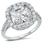 Sterling Silver .925 Women's Clear CZ Cushion Cut Engagement Ring size 5-9