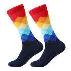 Fashion Mens Cotton Happy Socks Warm Colorful Diamond Casual Dress Socks 9-11