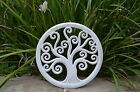 Wooden Hand carved tree of life wall hanging in aqua or whitewash