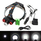 4-Modes 15000LM 3x XM-L T6 LED ZOOM Headlight Torch Headlamp USB 2*18650 Charger