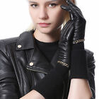 lady fashion sheep leather with knit wool arm winter warm elbow gloves in  black