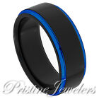 NEW Black & Blue Tungsten Carbide Wedding Band 8mm Ring Brushed Mens Jewelry 8mm