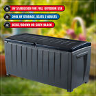 KETER NOVEL 340L OUTDOOR STORAGE BOX PATIO GARDEN TOOLS POOL SEAT GREY BEIGE
