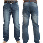 Crosshatch Mens New Farrow Mid Wash Regular Faded Blue Denim Jeans With Belt