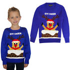Kids 3D Novelty Oh Deer Christmas Jumper Knitted Crew Neck Xmas Sweater Top
