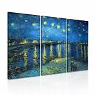 Starry Night Over the Rhone van Gogh Canvas Modern Home Office Wall Art 3pc