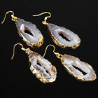 Natural Irregular Agate Crystal Quartz Drusy Geode Dangle Healing Reiki Earrings