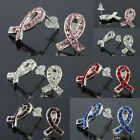 1Pair Crystal Rhinestone Ribbon Cancer AWARENESS Silver Plated Stud Ear Earrings
