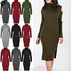 Womens Polo High Turtle Neck Cut Shoulder Ladies Ribbed Knitted Bodycon Dress