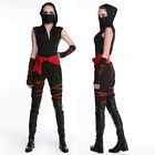 Women Ladies Black Ninja Hero Warriors Costume Cosplay Halloween Fancy Dress