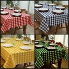 Carlos Gingham Checked Squares Tablecloth Vinyl Waterproof Soft Flannel Backed