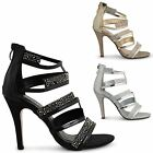 WOMENS STRAPPY STILETTO HIGH HEEL OPEN TOE LADIES CUT OUT EVENING SANDALS SIZE