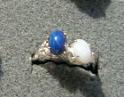 2 7X5 MM LINDE LINDY BLUE / WHITE STAR SAPPHIRE CREATED RUBY SECOND RING .925 SS