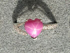 8X8MM HEART LINDE LINDY PINK STAR RUBY CREATED SAPPHIRE  2ND RD PLT .925 SS RING