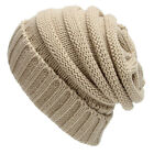 Unisex Women Men Winter Wool Crochet Hat Baggy Knitted Beanie Lady Plicate Cap
