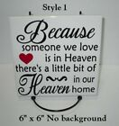 """Because Someone We Love Is In Heaven Decal Sticker For 8"""" Glass Block Shadow Box"""