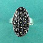 Marcasite Oxidized Sterling Silver Ring -  -  .925 Pure Silver